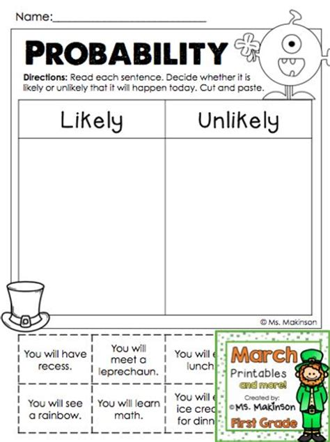 printable probability games march printables first grade literacy and math