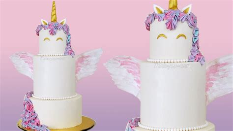 Tiered unicorn cake with wafer wings   buttercream cake decorating tutorial   YouTube