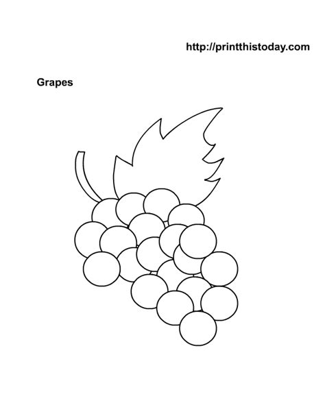 free coloring page of grapes free printable fruits coloring pages