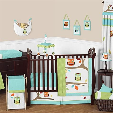 Turquoise Crib Bedding Sets Sweet Jojo Designs Hooty 11 Crib Bedding Set In Turquoise Lime Bed Bath Beyond