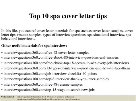 cover letter for spa top 10 spa cover letter tips
