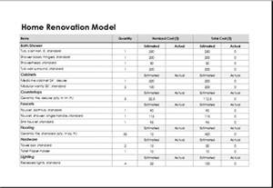 Home renovation model template for excel excel templates