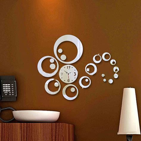 diy wall clock watches 3d acrylic mirror surface sticker