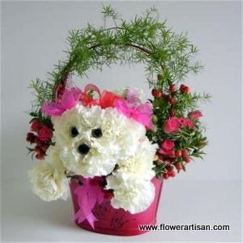 puppy flower arrangement puppy floral arrangement flower power