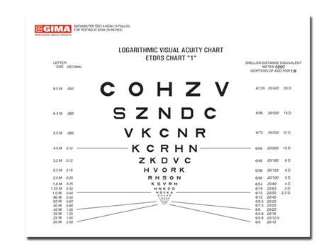 tavole ottotipiche logmar sloan near vision chart 40 cm 18x23 cm