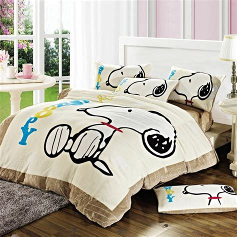 snoopy bedroom snoopy winter duvet cover set flannel bedding flannel