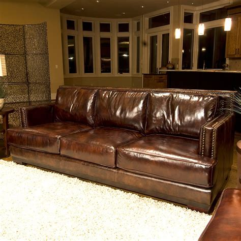 saddle brown leather sofa emerson top grain leather sofa in saddle brown dcg stores
