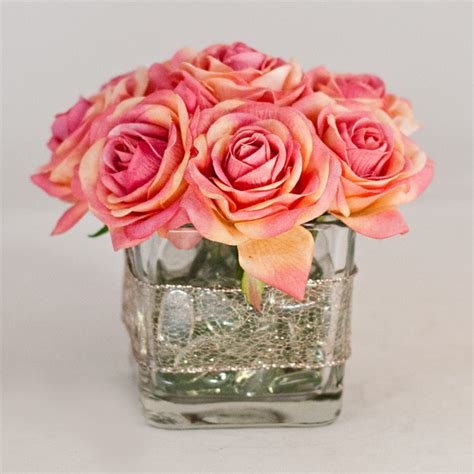 Square Flower Vases by Real Touch Roses Faux Arrangement Pink Square Glass Vase