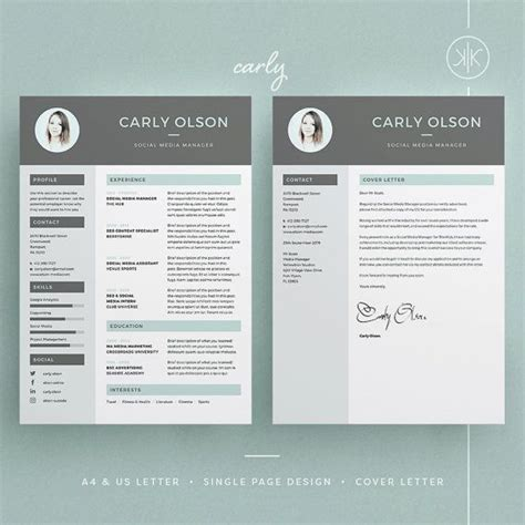Carly Resume Cv Template Word Photoshop Indesign Professional Resume Design Cover Indesign Letter Template