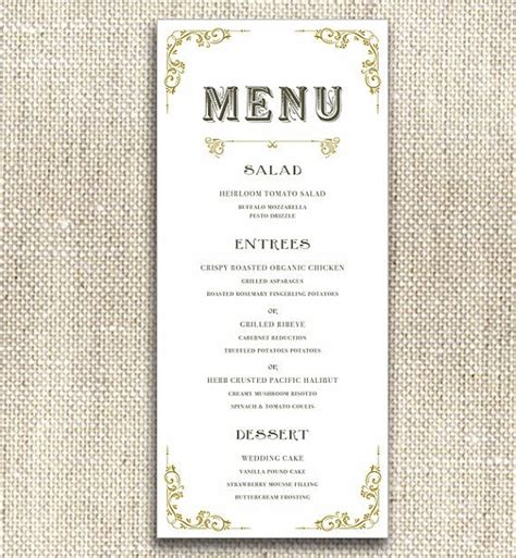 printable menu card art deco vintage printable menu card