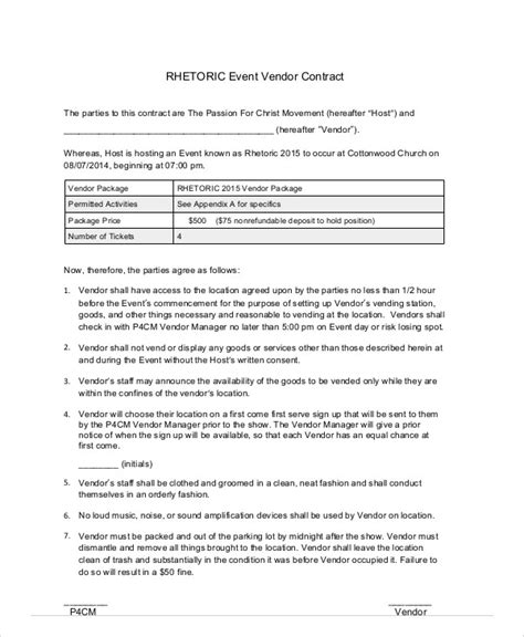 event vendor agreement template sle event contract agreement 8 exles in word pdf