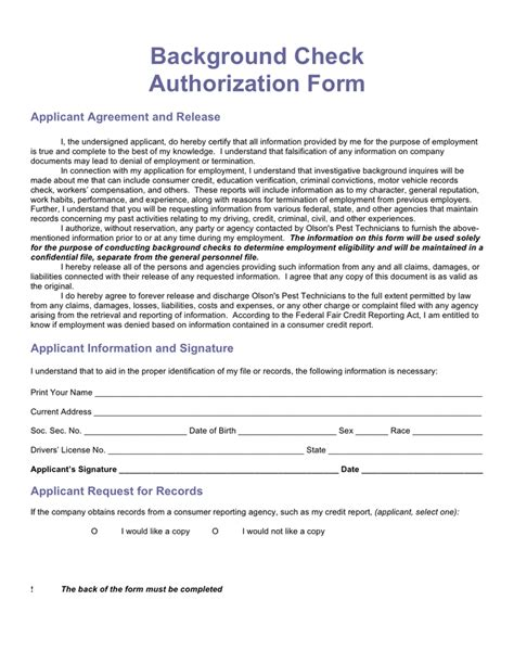 Background Check Permission Form Background Authorization Form Images