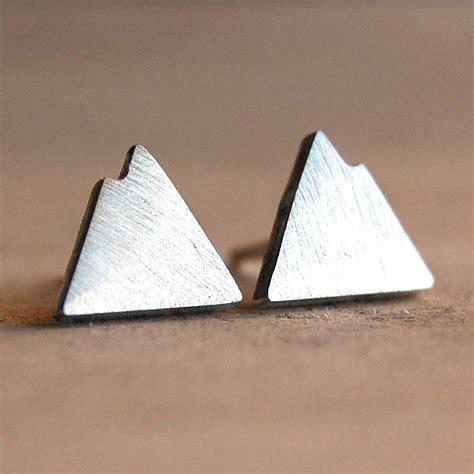 Handmade Silver Stud Earrings - handmade silver mountain stud earrings by alison