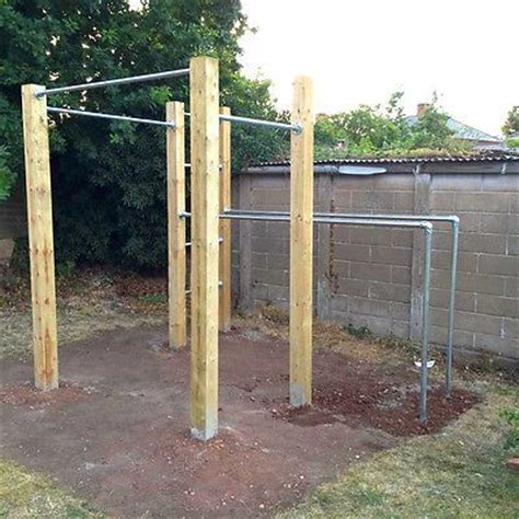 pull up bar in backyard outdoor dip bar and workout on