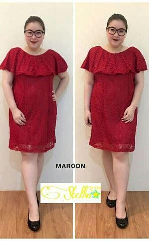 baju dress pendek pesta wanita bahan brukat ukuran jumbo