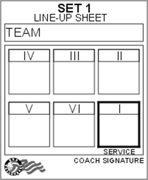 printable volleyball lineup sheet usa volleyball line up sheet volleyball pinterest