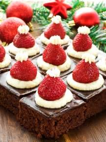 Santa hat mini brownies healthy christmas party dinner menu dessert
