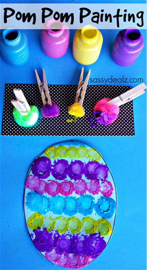 easy easter craft painting eggs pom pom easter egg painting craft for crafty morning