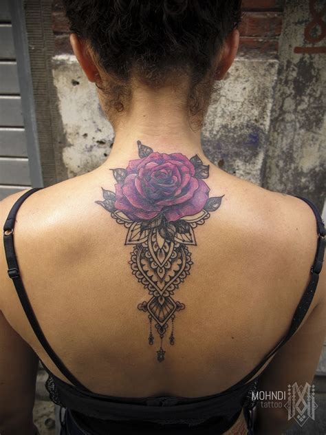 neck tattoo cover up mohndi purple ornamental mehndi