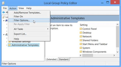 how to open administrative templates in windows 7 filter options in local policy editor in windows 7 8