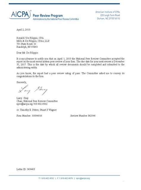 acceptance letter for review cpa peer review brown brown