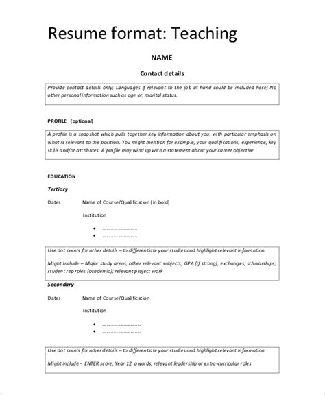 simple resume format for teachers in india 9 simple resume formats sle templates
