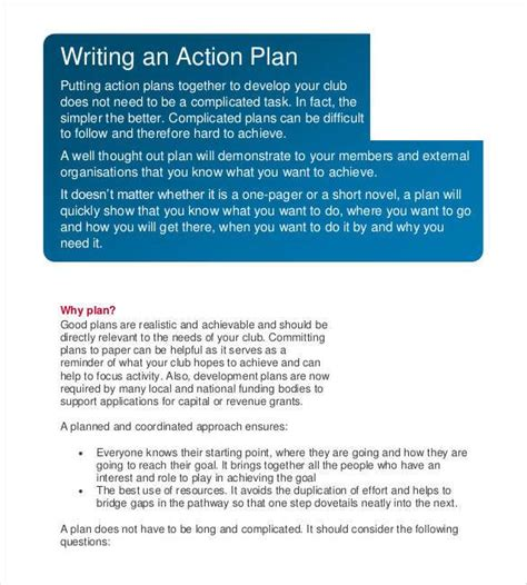 written action plan template choice image templates