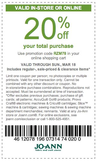 printable joann fabric coupons 2012 the thrifty deafies joann fabrics 20 off coupon on