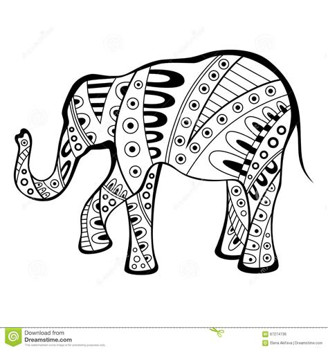 black and white pattern elephant abstract elephant black white pattern illustration stock