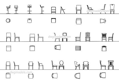 stuhl 2d chairs all projections dwg free cad blocks