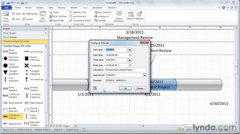 visio timeline tutorial adding intervals to the timeline from the course visio