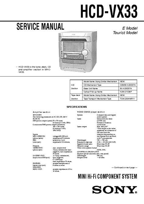 Mekanik Kaset Hifi Sony Hcd Vx33 sony ta d709n ta a77n service manual free