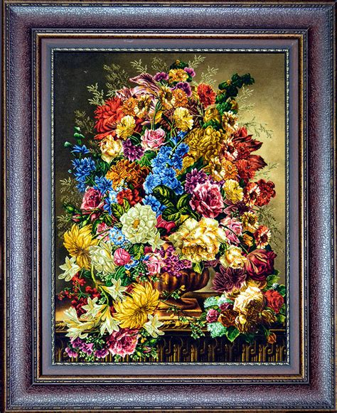 flower of rug flower in a golden vase silk tableau rug pictorial carpet item 1368