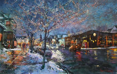 christmas lights in elmwood ave painting by ylli haruni