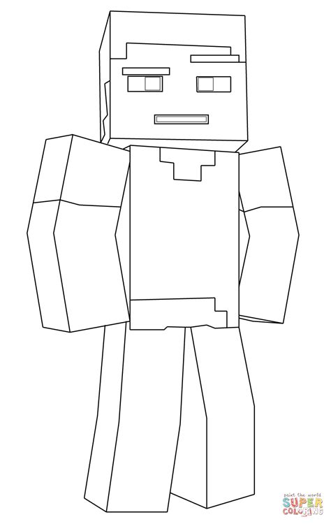 Minecraft Coloring Pages Of Steve minecraft steve coloring page free printable coloring pages