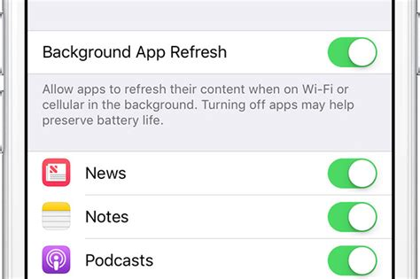 disable background refreshing  ios apps