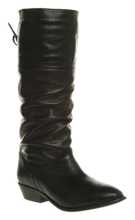 office jani slouch boot black leather in black lyst