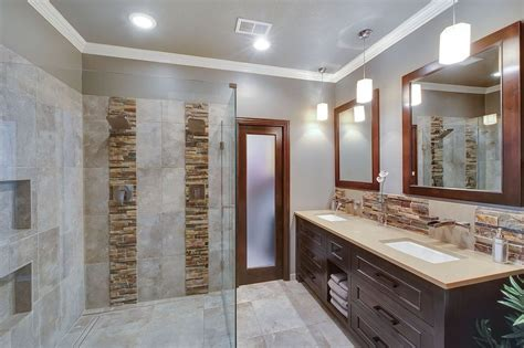 modern master bathroom contemporary master bathroom with daltile stacked stone
