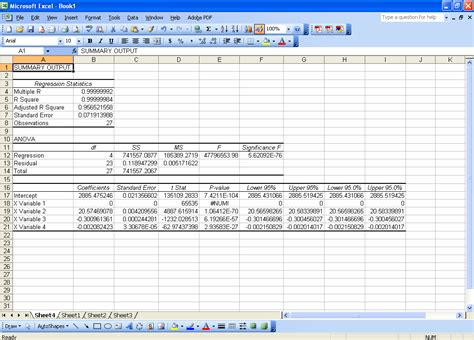 advanced regression with microsoft excel chem lab