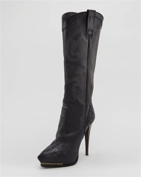 lanvin high heel cowboy boot black
