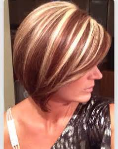 bob haircut with chunky highlites chunky blonde highlights on bob style dark brown hairs