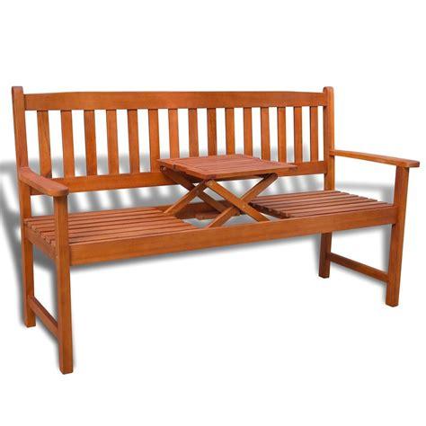 panchina in legno da esterno vidaxl panchina da esterno in legno con tavolino pop up