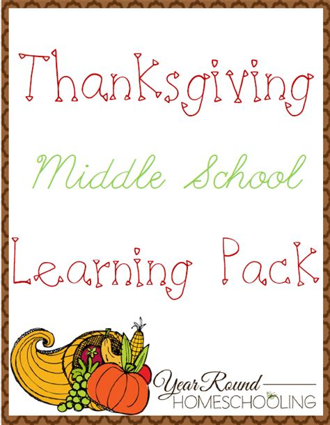 free thanksgiving middle school learning pack year