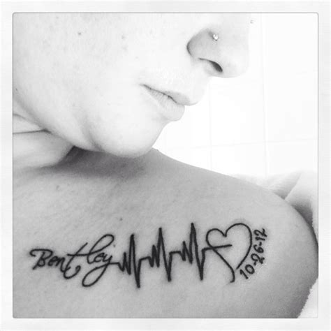 heartbeat tattoo with name my fav i my sons name with his heartbeat and