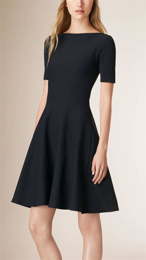 boat neck lyst burberry boat neck a line dress in blue