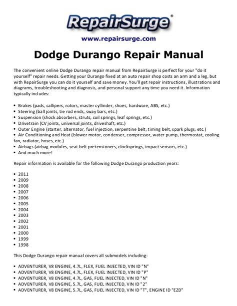 service manual 2008 dodge durango free repair manual dodge dakota durango haynes repair dodge durango repair manual 1998 2011