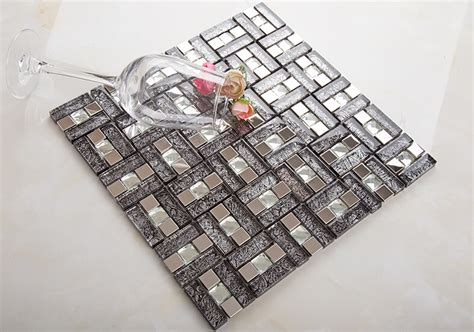 Peel And Stick Wall Murals Cheap silver 304 stainless steel mosaic tile crystal glass