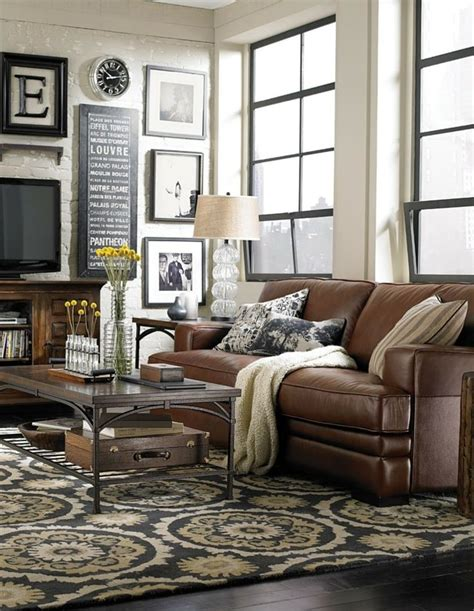 living room with brown furniture decorating around a brown decorating around brown leather couches sofas chairs seats