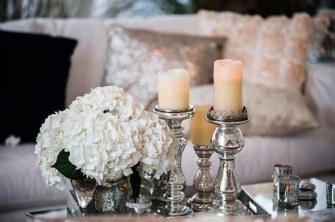 Elegant Hydrangea And Mercury Glass Pillar Candle Glass Wedding Centerpieces