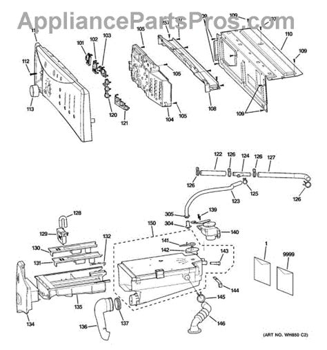ge washer parts diagram ge wh16x10071 control rear cover appliancepartspros